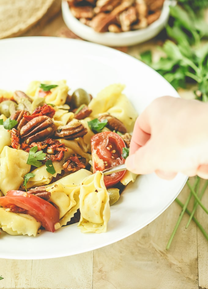 Make ahead pasta salad with Sunnyland pecans