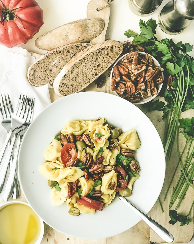 Two Tomato Tortellini Salad with Sunnyland Toasted Pecans